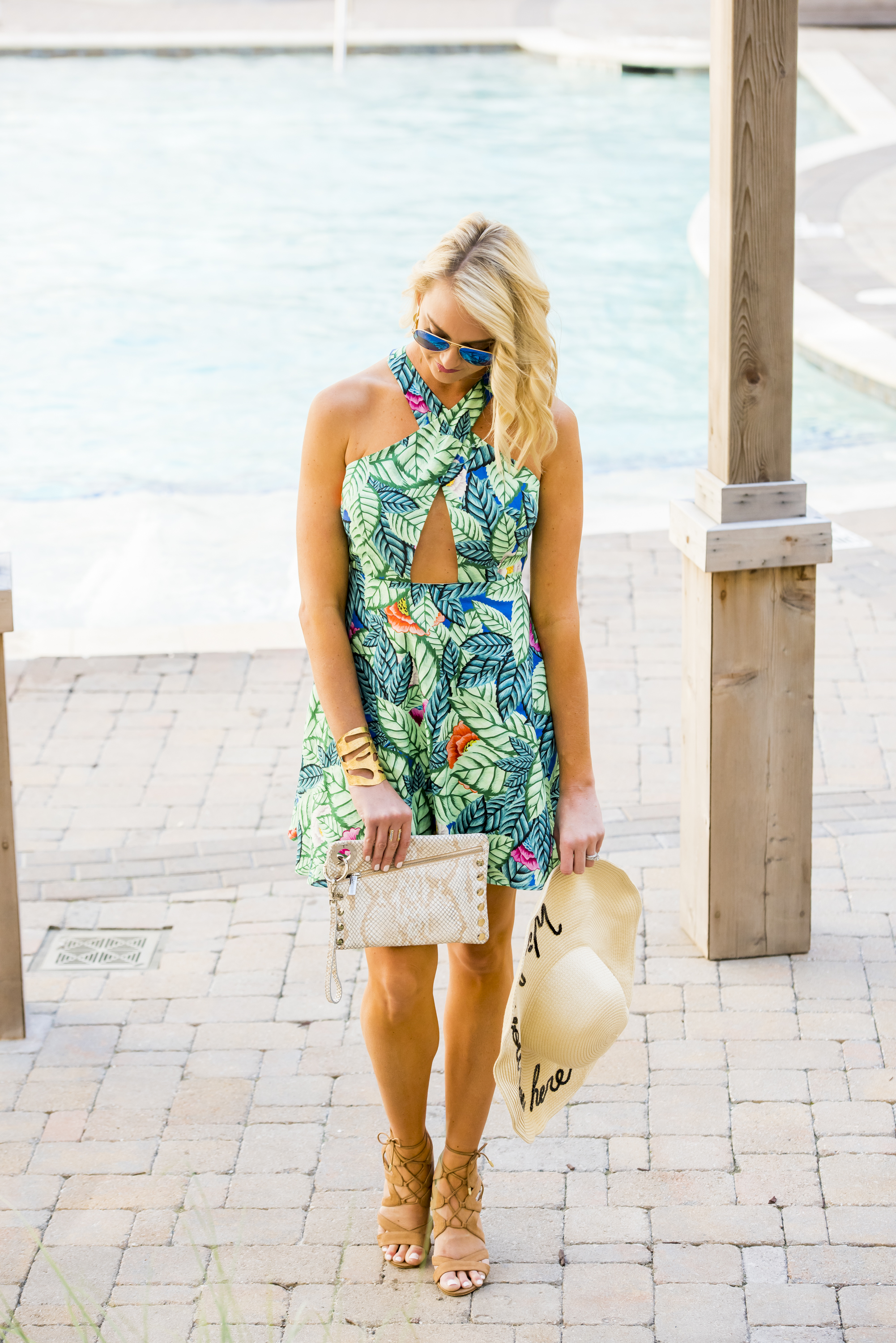 a9eb054bbfa3 Mara Hoffman Cross Front Mini Dress / Molly Ring / Ray Ban Aviators /  Hammitt LA Nash Bag. ""