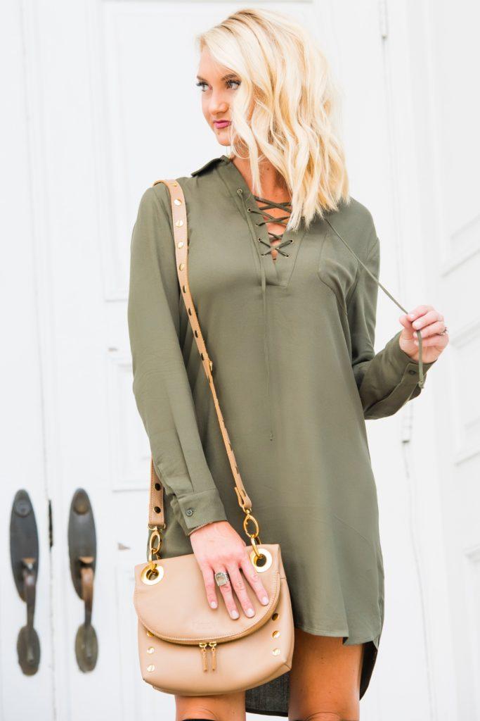 Wayf Laced-Up Dress