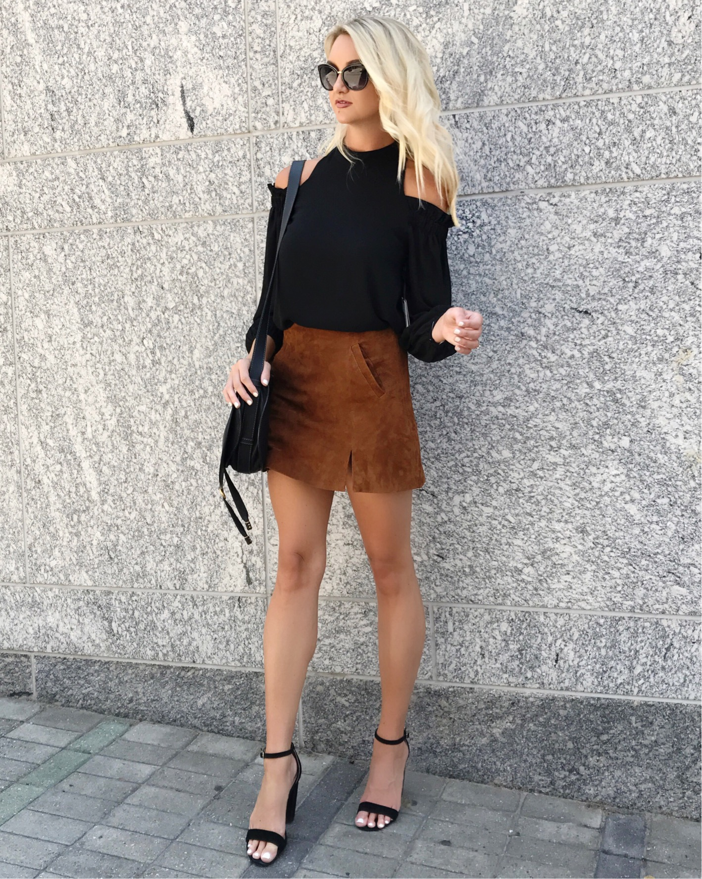 62ffc73e6 BlankNYC Suede Mini Skirt (order one size up!) | Trouve Ruffle Cold  Shoulder Top