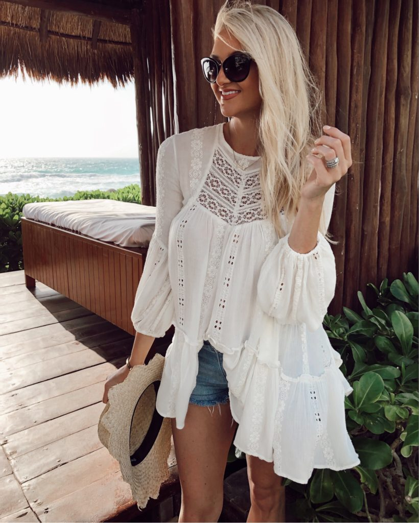 a8203628488 Free People Kiss Kiss Tunic | Frame Denim Shorts | Brixton Hat